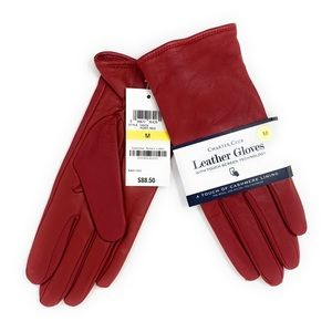 NEW Red Leather and Cashmere/Wool Women's Gloves